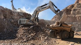 Liebherr 984 Excavator Loading Cat Dumpers And Operator View - Sotiriadis Brothers