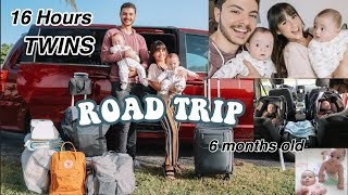 TWINS FIRST 16+ HOUR ROAD TRIP!! | Traveling with 6 month TWIN BABIES