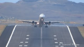 Runway front view LANDINGS and TAKE OFF in Madeira
