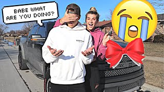 CRASHING MY FIANCES CAR THEN BUYING HIM A NEW ONE!! *CUTE REACTION*