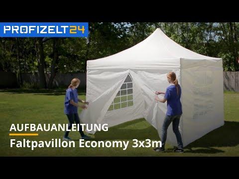 Faltpavillon 3x3 - Aufbauanleitung (LOGI, Economy) | Profizelt24