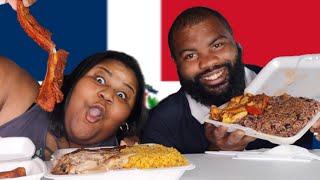 WE TRY DOMINICAN FOOD| Lechón Asado, LOCRIO DE POLLO & Rice With Beans Moro De Habichuelas