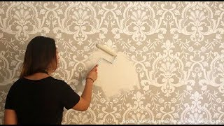How To Stencil An Embossed Wall With Raised Designs & Joint Compound Plaster