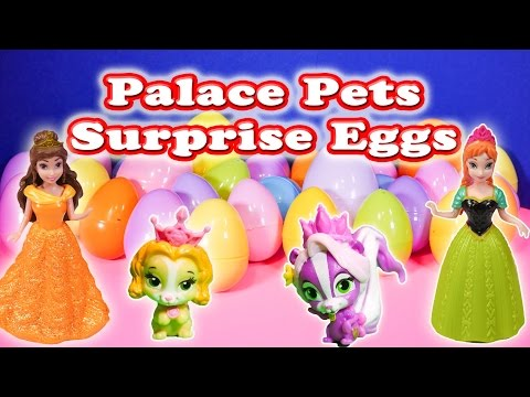 Opening Princess Palace Pets Surprise Eggs and Toys with the Assistant