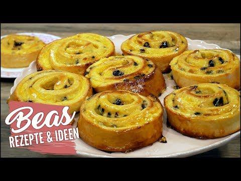 Puddingschnecken Rezept | Pudding Teilchen mit Schokodrops backen