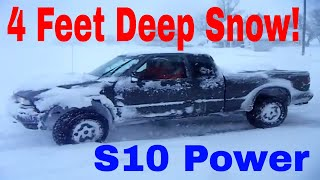 chevy s10 zr2 4x4 going thru 4ft deep drifted snow bad storm