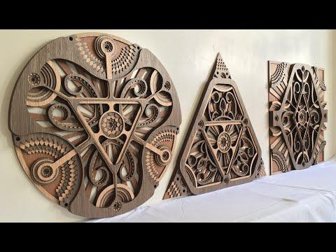 Modern Wall Hangings / Circle/ Triangle/ Square - Hypnotic Shapes (Wood Wall Hang, Layered Mandala)