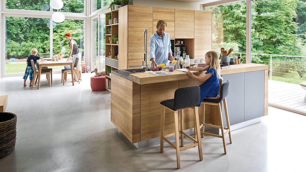 linee solid wood kitchen with bar and ark bar stools