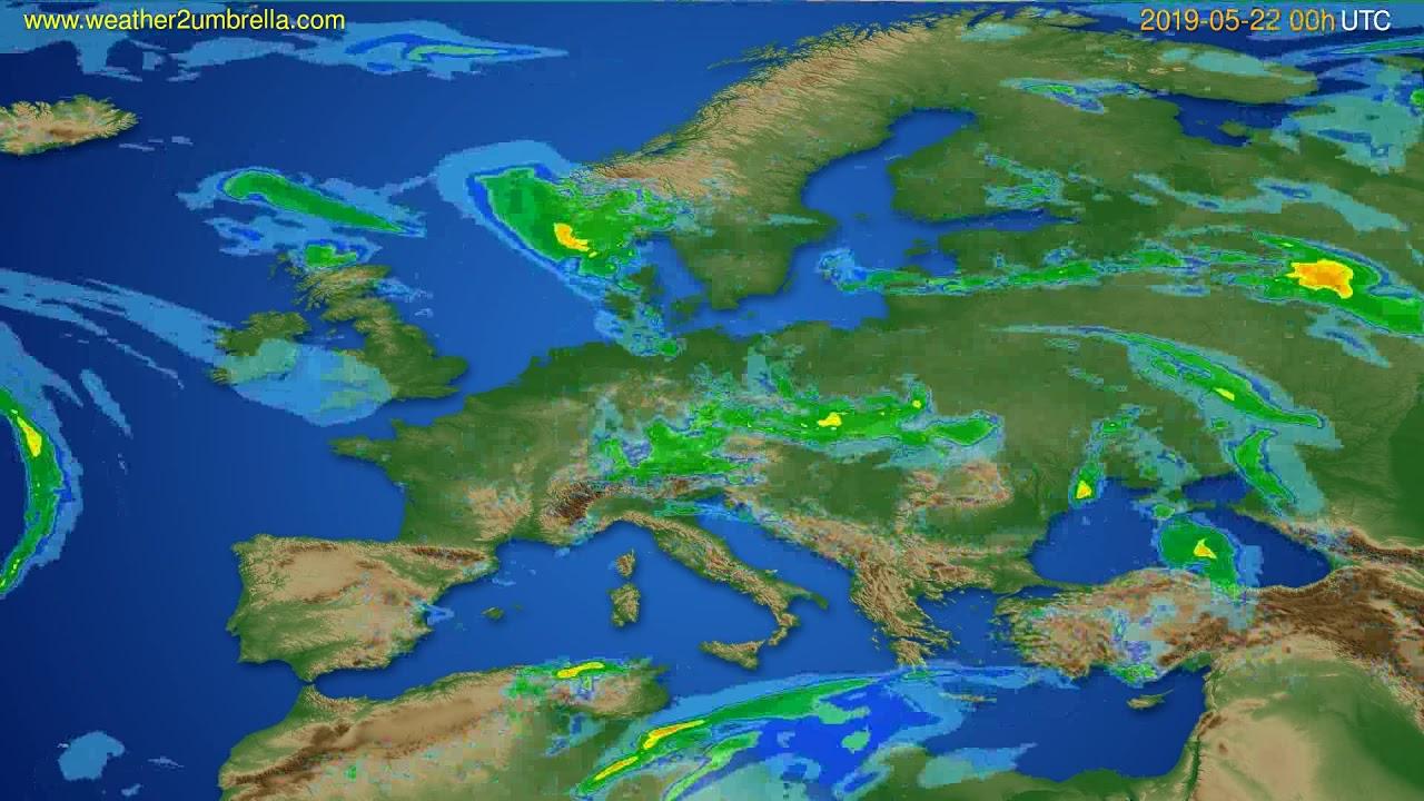 Radar forecast Europe // modelrun: 12h UTC 2019-05-21