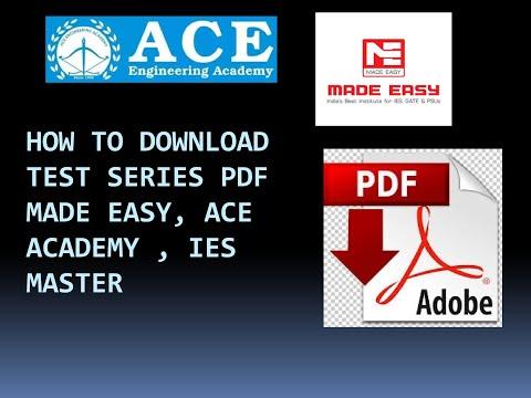 HOW TO DOWNLOAD TEST SERIES GATE PDF MADE EASY, ACE, IES