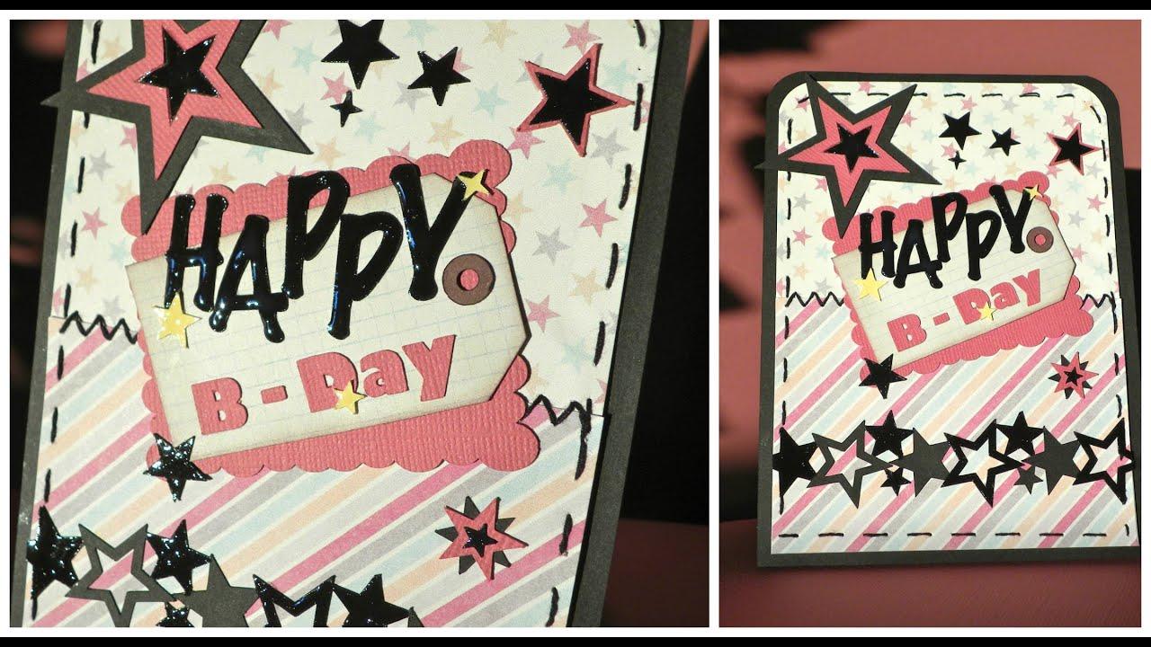 Rocker Birthday Card (stars) - Tarjeta Cumpleaños Rockera (estrellas)