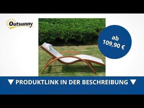 Outsunny Sonnenliege Gartenliege Gartenstuhl Liegestuhl Relaxsessel Holz - direkt kaufen!