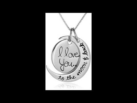 Sterling Silver I Love You To The Moon and Back Pendant Necklace, 18