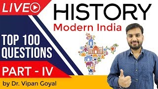 Modern Indian History | Top 100 MCQ for UPSC State PCS SSC CGL Railways by Dr Vipan Goyal | Part 4