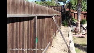 How fixed leaning wood fence home repair slideshow