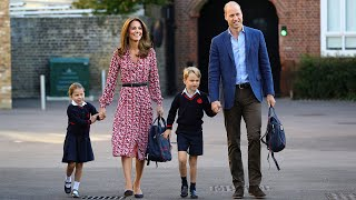 video: 'Very excited' Princess Charlotte arrives for her first day of school, with big brother George to help her