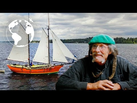 Artist Builds his Dream Sailboat, The Pterodactyl, a Concrete Hull Gaff Rig Schooner
