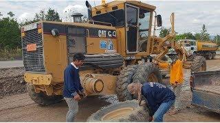 เรียบร้อยครับเหยียบหินยางแตก ลุยงานหนักทั้งหินทั้งดิน รถเกรด CAT 140H & CAT 140K