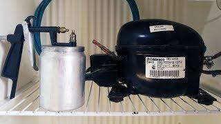 Compressor com motor de geladeira, rápido e fácil, para pintura, encher pneu etc.