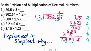 Division and Multiplication of Decimal Numbers   step by step