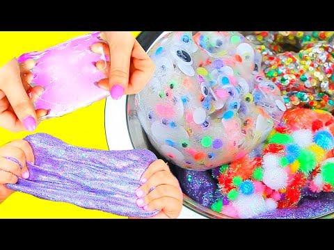 DIY JUMBO SLIMES + Mixing Slimes! Pom Pom Slime, Googly Eyes Slime, Glitter Slime, & More!