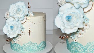 Cake Decorating Tutorials | How To Make A BAPTISM CAKE With EDIBLE LACE | Sugarella Sweets