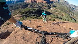 It doesn't quite capture the true steepness, but this video shows a guy riding the crux of the Hangover ride.