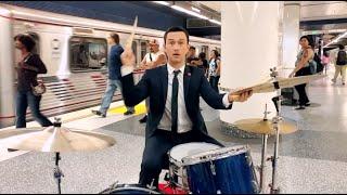 Joseph Gordon-Levitt Plays The Drums In A Subway