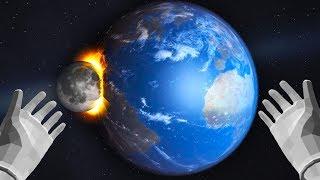 ЧТО БУДЕТ, ЕСЛИ ЛУНА ВРЕЖЕТСЯ В ЗЕМЛЮ В ВР?! - КОСМИЧЕСКИЕ ЭКСПЕРИМЕНТЫ В ВР - Universe Sandbox 2 VR