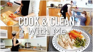 COOK AND CLEAN WITH ME!    EASY HEALTHY MEAL IDEA    KITCHEN CLEANING ROUTINE