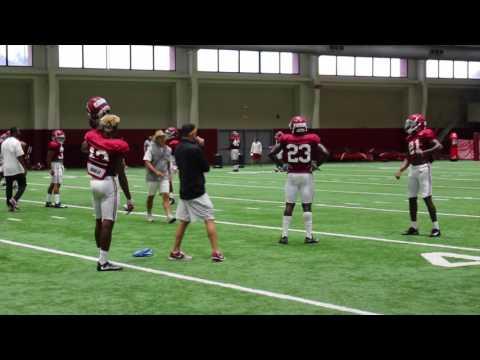 Watch Nick Saban work hands-on with defensive backs