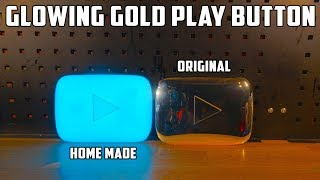 DIY Blue Glowing YouTube Gold Play Button - Video Youtube