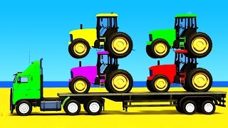 COLOR CARS and FUN TRACTOR with Superheroes 3d in Spiderman Cartoon for Kids and Children