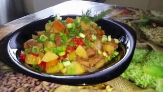 Тушеная говядина с овощами в мультиварке!!!
