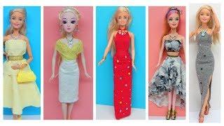 5 DIY Clothes For Doll ~ How To Make No Sew No Glue Barbie Doll Dresses - Hacks And Crafts