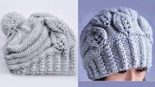 "Вязание шапки спицами ""Листочки"". How to Knit a HAT"