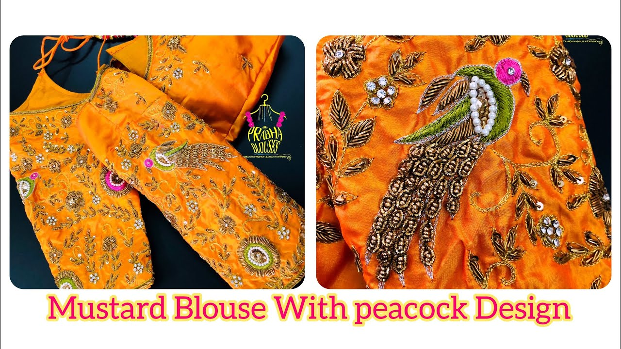"""<p style=""""color: red"""">Video : </p>Mustard Blouse With Peacock And Flower Design 