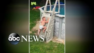 Toddler climbs safety ladder to above-ground pool