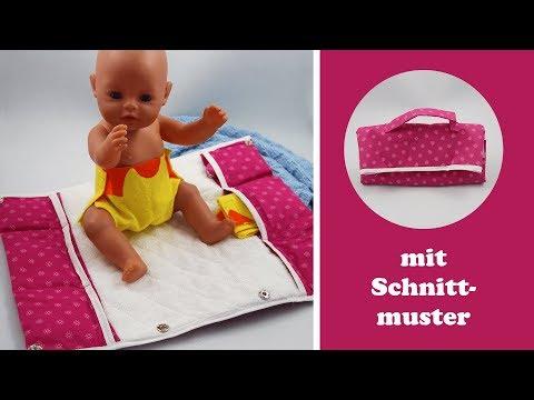 Wickeltasche nähen für Puppen für unterwegs mit Wickelauflage