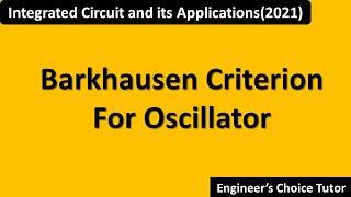 Barkhausen criterion for Oscillator