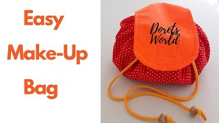 DIY Drawstring Cosmetic Bag | Round Drawstring Make-up Bag | Make-up Bag