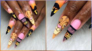 Watch Me Work | Lion King Inspired Nail Art Design | Après Gel X Long Stilettos Nails
