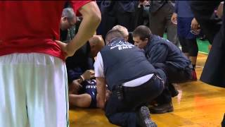 (HD) Ryan Anderson carted off on stretcher after head collision 1-3-2014