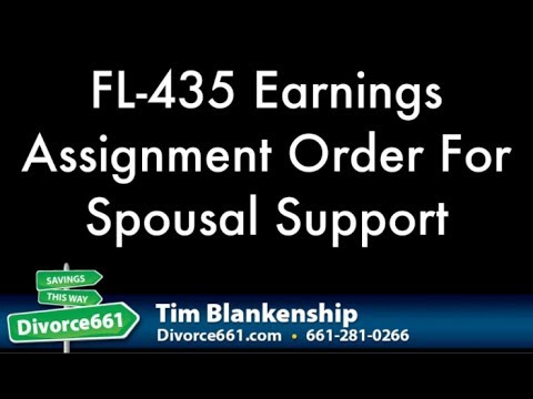 FL 435 Earnings Assignment Order For Spousal Support