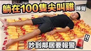 【狠愛演】躺在100隻尖叫雞上睡覺,吵到鄰居要報警!『整個超級鬧』