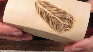 Three Minute Feather  Carved & Burned  Demonstration  Laurie J McNeil