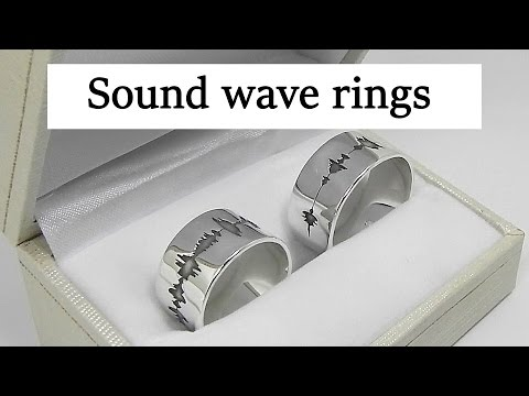 Silver sound wave wedding rings