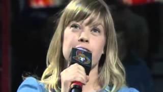 Basia Bulat singing the national anthem of Canada