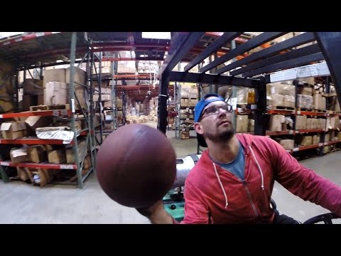 Guys Perform Impossible Basketball Trick Shots Using A Forklift