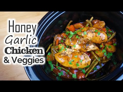 Video Slow Cooker Honey Garlic Chicken & Veggies - What's For Din'? - Courtney Budzyn - Recipe 65